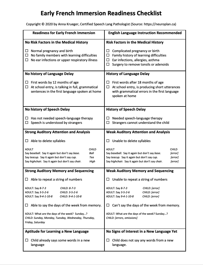 Early French Immersion Checklist Image