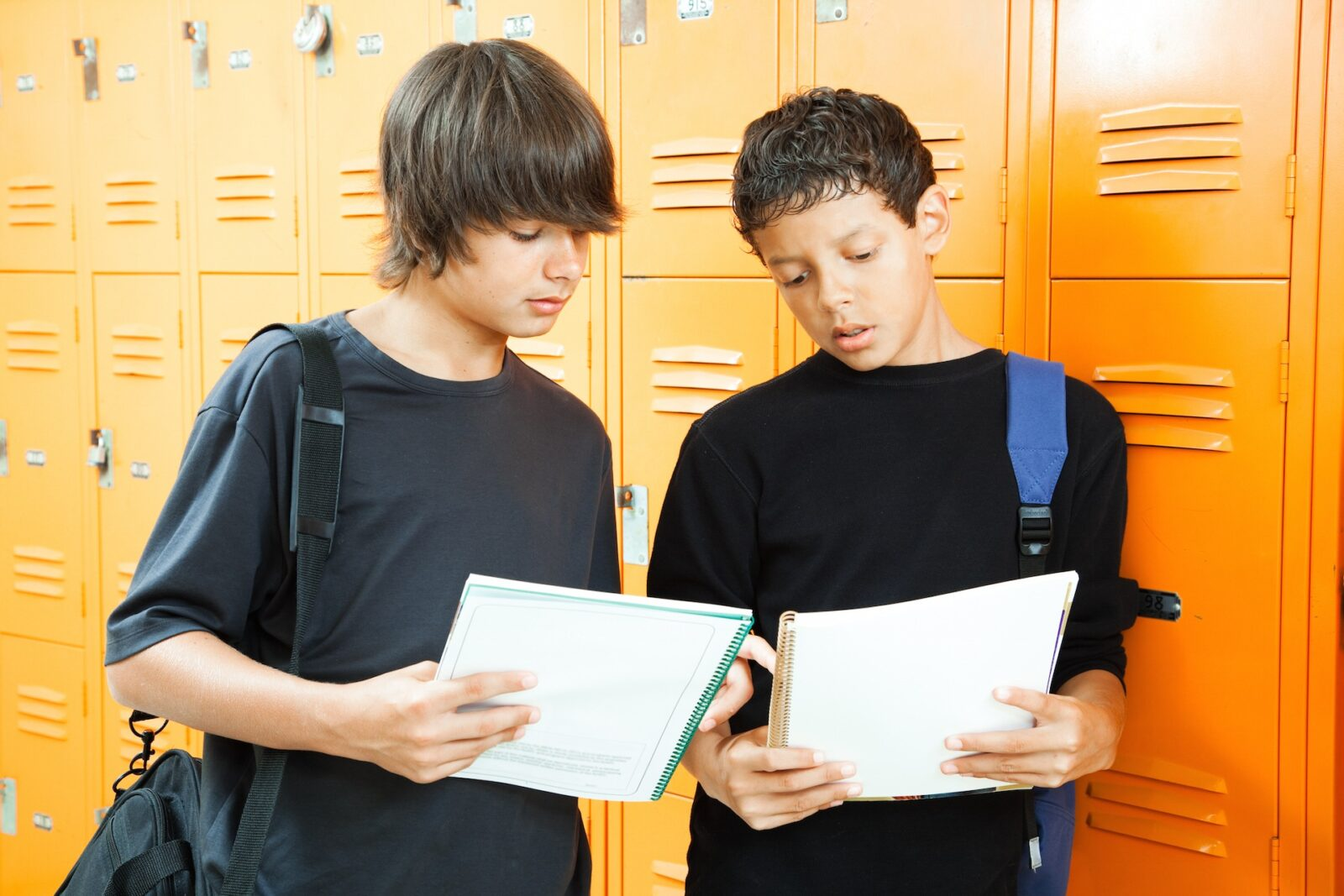 Teen Boys Comparing Homework